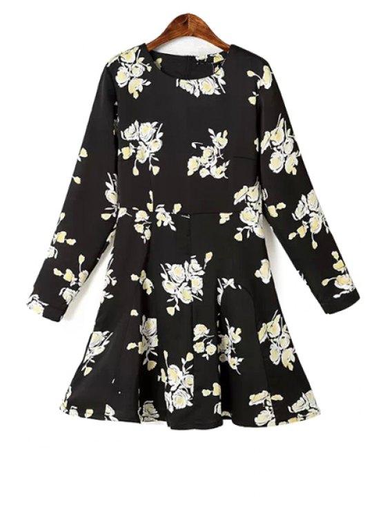 affordable Jewel Neck Floral Print Dress - BLACK S