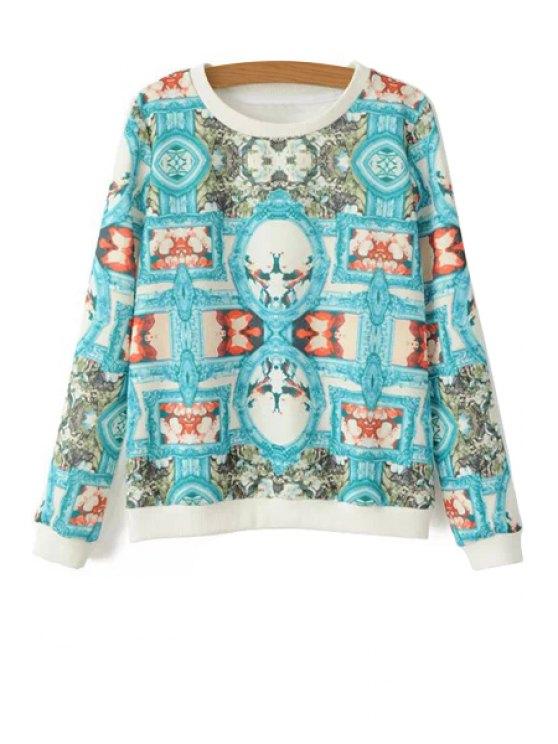 chic Long Sleeves Retro Print Sweatshirt - BLUE S