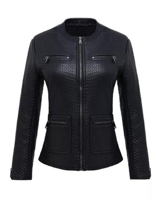 trendy Long Sleeve Black PU Leather Jacket - BLACK S