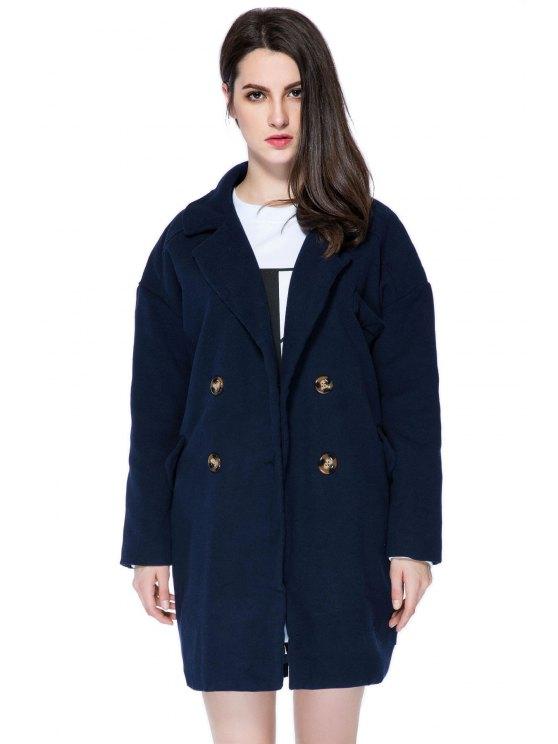 ladies Solid Color Lapel Loose-Fitting Coat - PURPLISH BLUE M