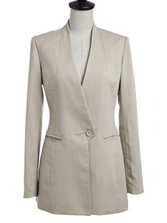ladies V-Neck Solid Color Blazer - KHAKI S