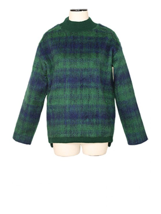 trendy Plaid Pattern Worsted Sweater - GREEN ONE SIZE(FIT SIZE XS TO M)