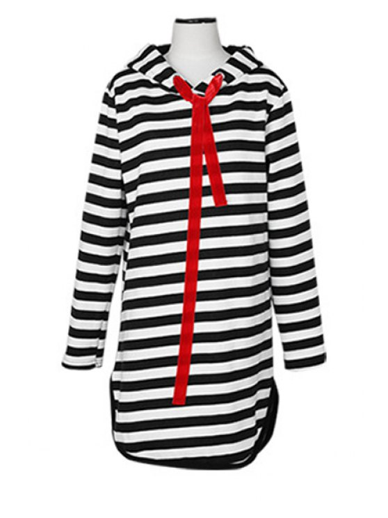shop Long Sleeve Striped Pattern Hoodie - WHITE AND BLACK ONE SIZE(FIT SIZE XS TO M)