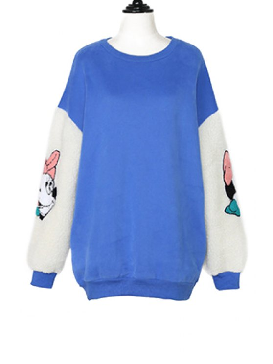 latest Long Sleeve Cartoon Pattern Sweatshirt - BLUE ONE SIZE(FIT SIZE XS TO M)