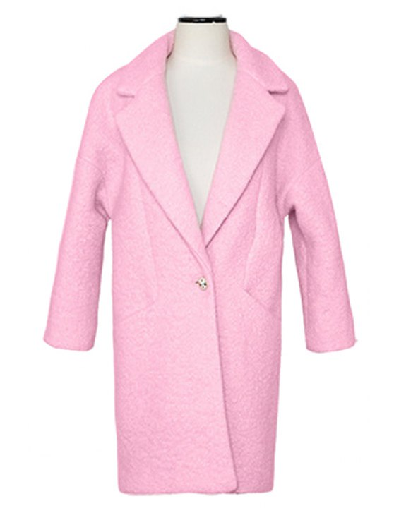 sale Solid Color One Button Worsted Coat - PINK S