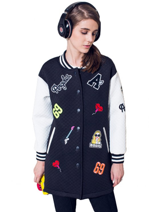 fashion Stand Collar Letter Pattern Jacket - WHITE S