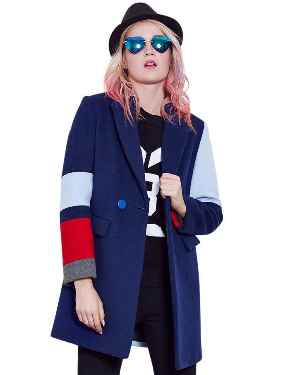online Lapel Color Block Coat - DEEP BLUE M