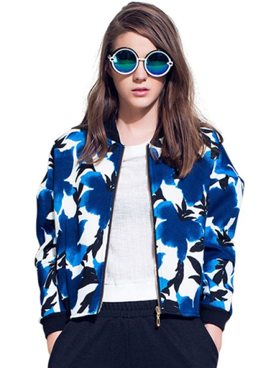 fashion Stand Collar Floral Pattern Jacket - BLUE S