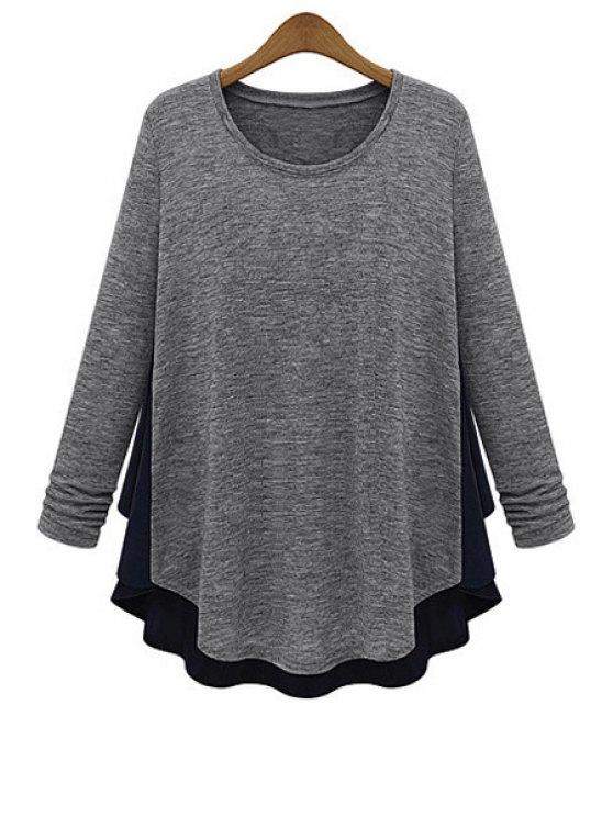 shops Scoop Neck Chiffon Splicing Knitwear - LIGHT GRAY L