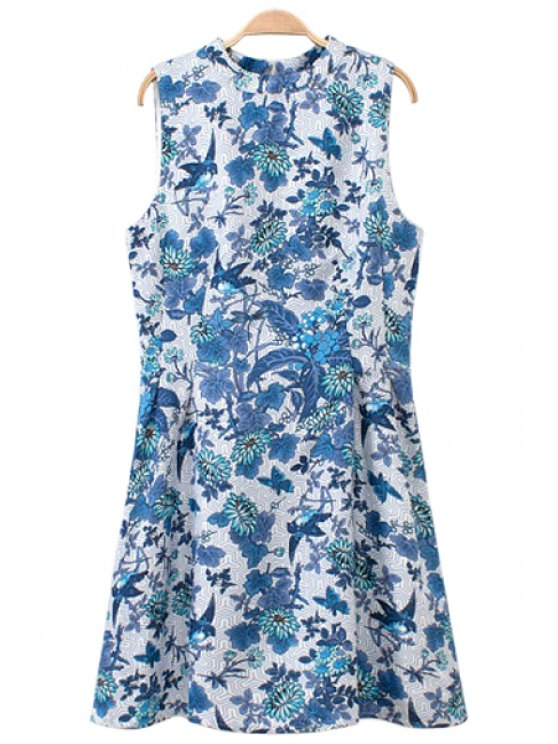 unique Floral and Bird Print Sundress - ICE BLUE S