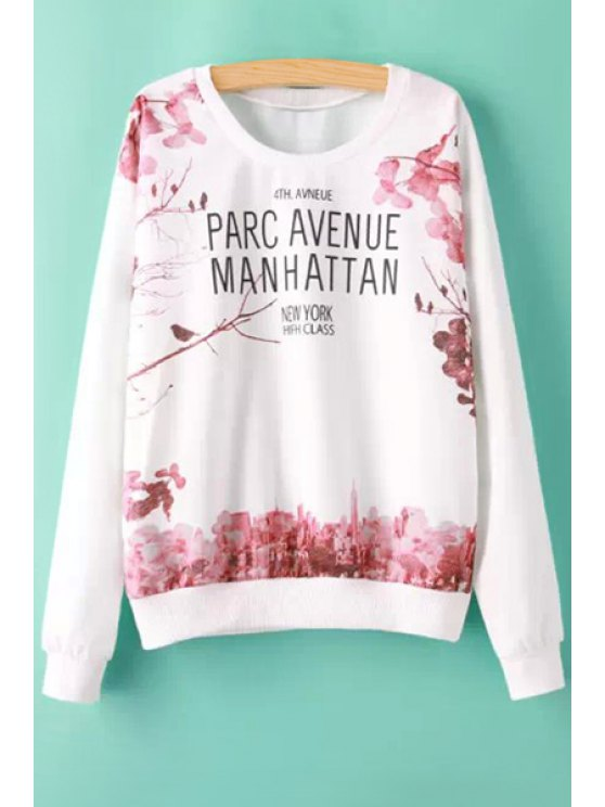 hot Letters and Floral Print Sweatshirt - WHITE S