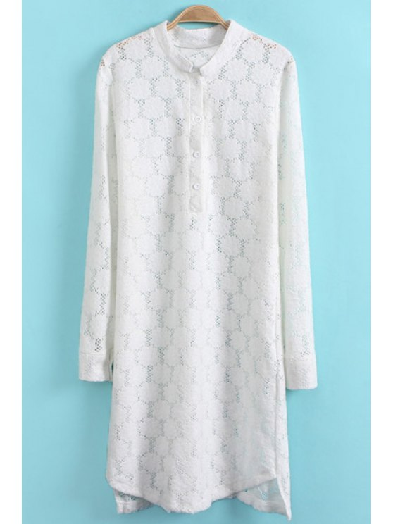 sale Long Sleeve White Lace Dress - WHITE S