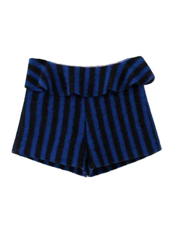fancy Striped Ruffles Splicing Shorts - BLUE XS