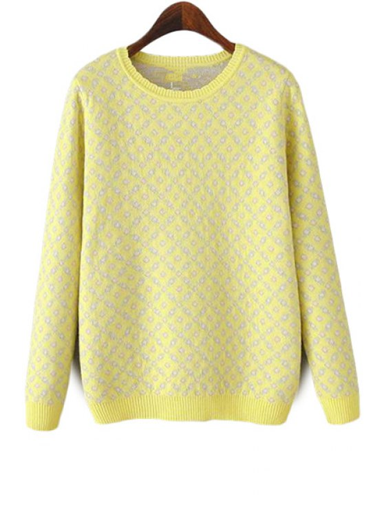 fancy Tiny Flower Pattern Sweater - LIGHT YELLOW S