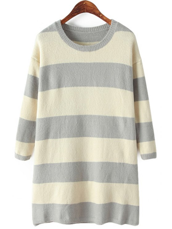 women Long Sleeve Striped Sweater Dress - GRAY ONE SIZE(FIT SIZE XS TO M)