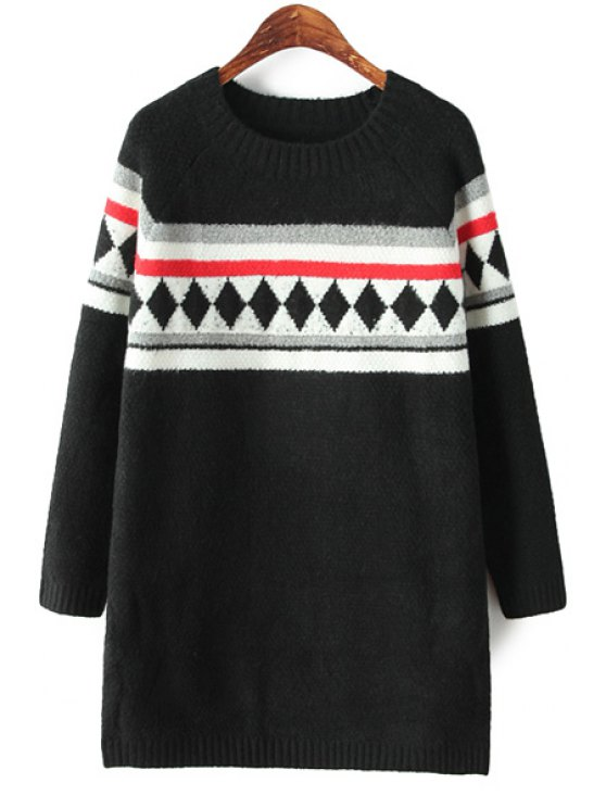 shops Geometric Pattern Sweater Dress - BLACK ONE SIZE(FIT SIZE XS TO M)
