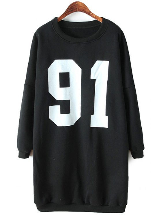 online Long Sleeves Number Print Dress - BLACK ONE SIZE(FIT SIZE XS TO M)