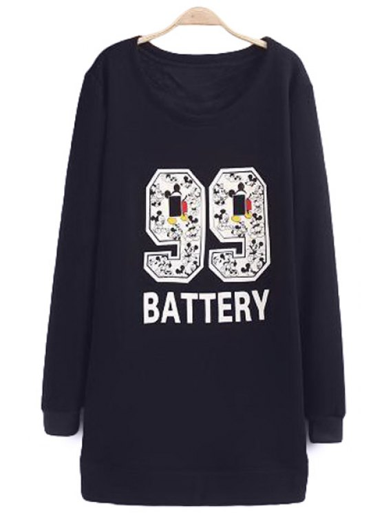outfit Cartoon Number Pattern Sweatshirt - PURPLISH BLUE L