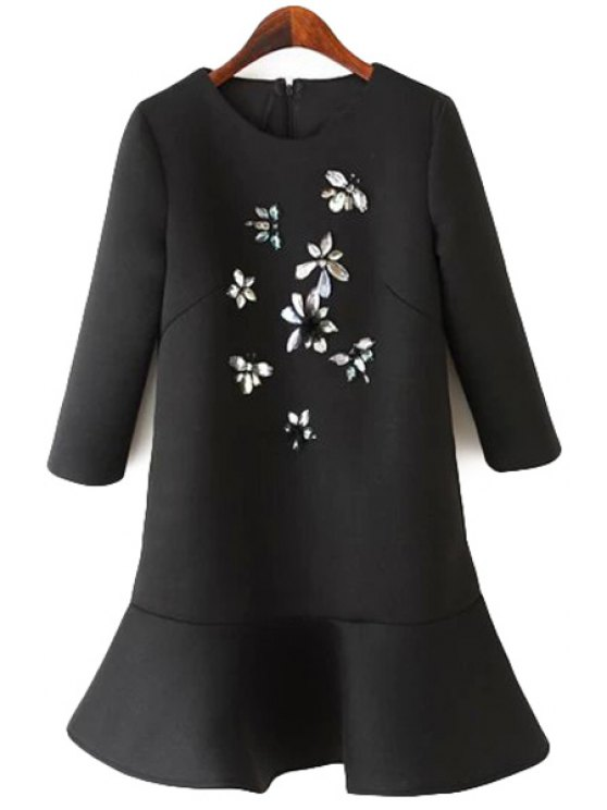 unique Rhinestone Ruffles Splicing Dress - BLACK M