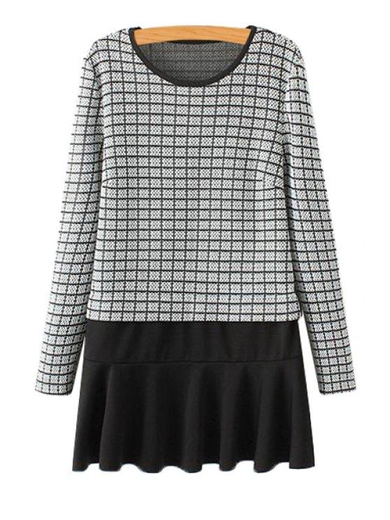 fashion Ruffles Splicing Checked Dress - WHITE AND BLACK S