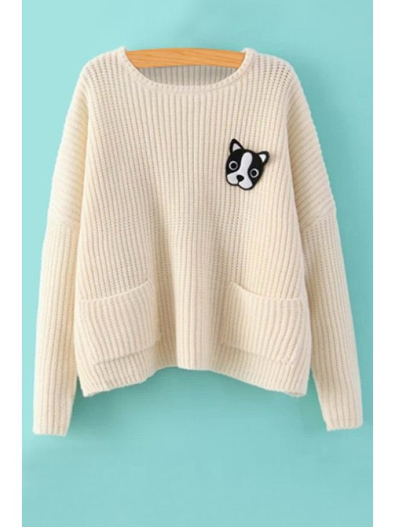 online Long Sleeve Puppy Brooch Sweater - OFF-WHITE ONE SIZE(FIT SIZE XS TO M)