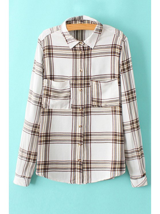 hot Plaid Double Pockets Shirt - CHECKED S