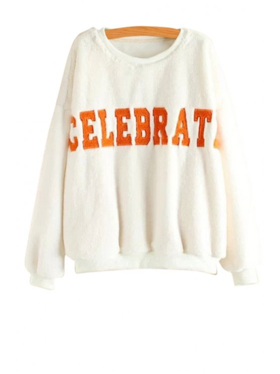 buy Long Sleeves Letters Pattern Sweatshirt - WHITE ONE SIZE(FIT SIZE XS TO M)