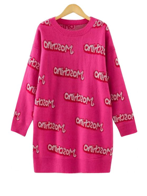 women Full Letter Pattern Sweater Dress - PLUM ONE SIZE(FIT SIZE XS TO M)