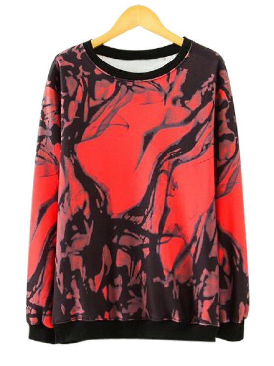 latest Long Sleeves Abstract Print Sweatshirt - RED M