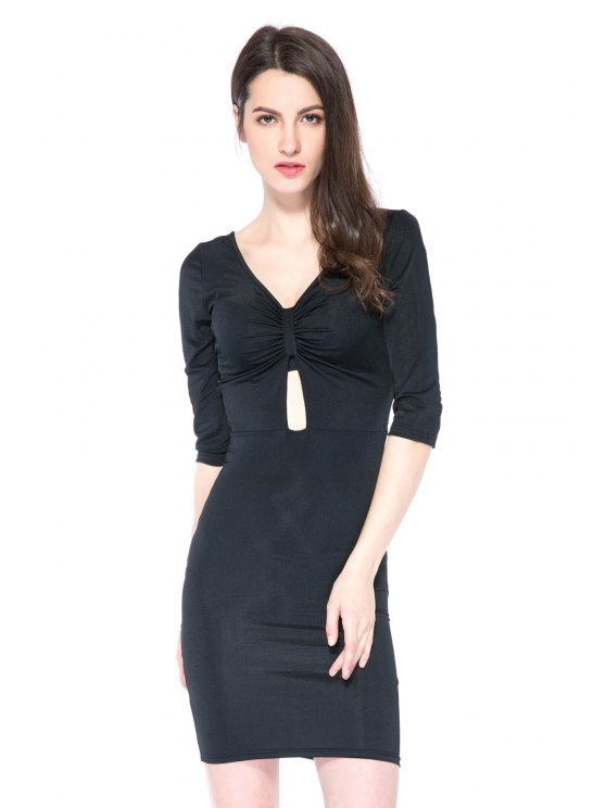 sale Black Plunging Neck 3/4 Sleeve Dress - BLACK XS