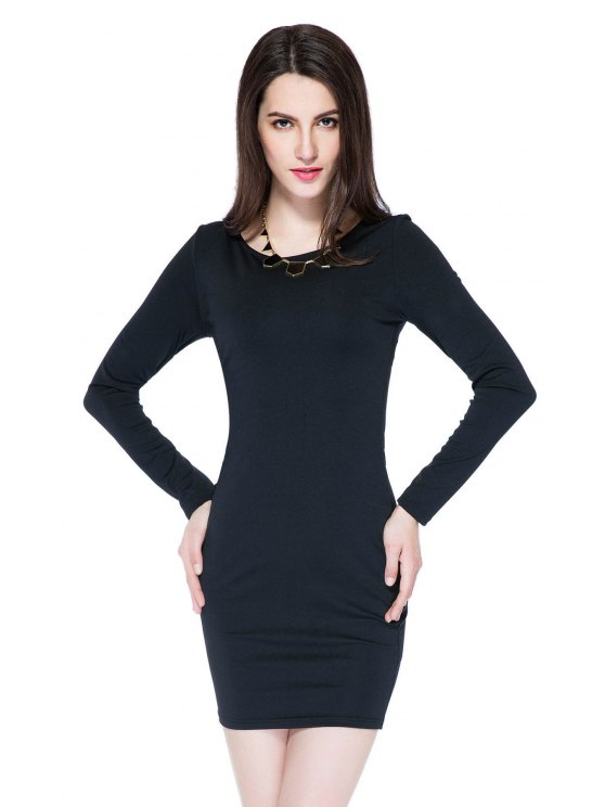 buy Black Zipper Backless Bodycon Dress - BLACK XS