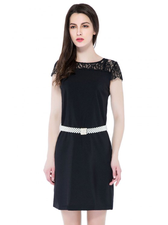 shops Black Lace Splicing Short Sleeve Dress - BLACK S