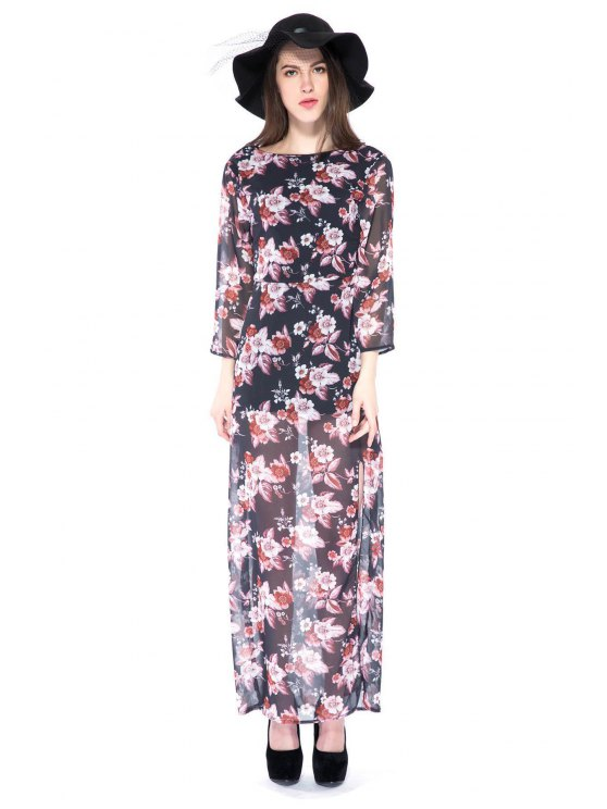 online Floral Print 3/4 Sleeve Side Slit Dress - BLACK M