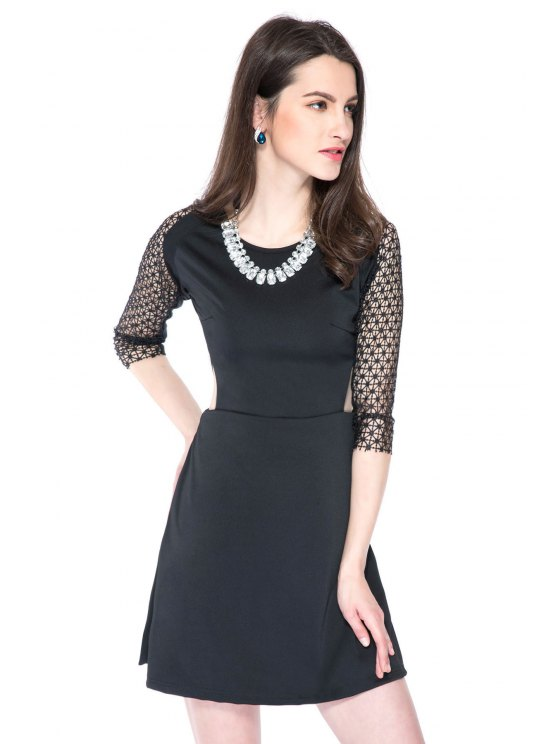 latest Crochet Splicing 3/4 Sleeve Dress - BLACK XS