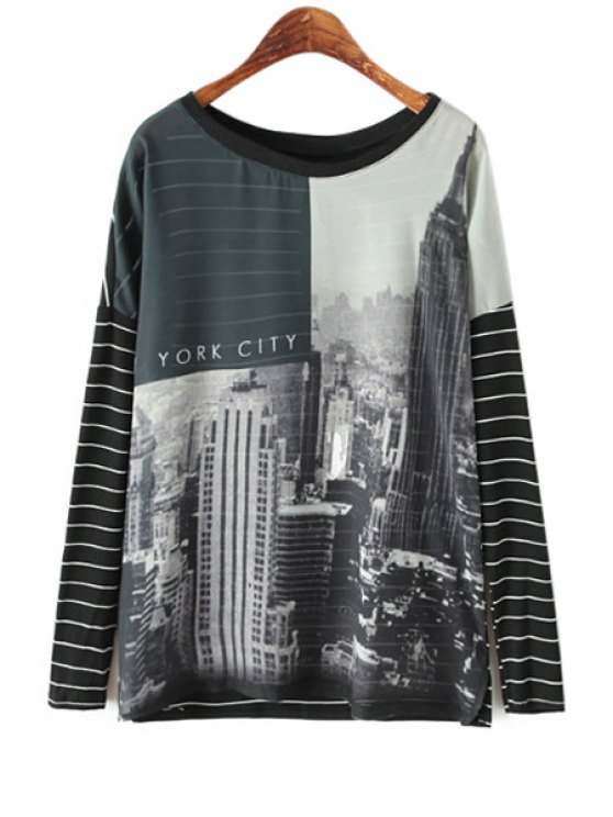 women's Long Sleeve Building Print T-Shirt - BLACK S