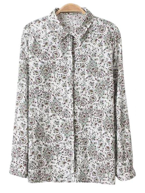 fashion Shirt Collar Tiny Floral Print Shirt - COLORMIX L