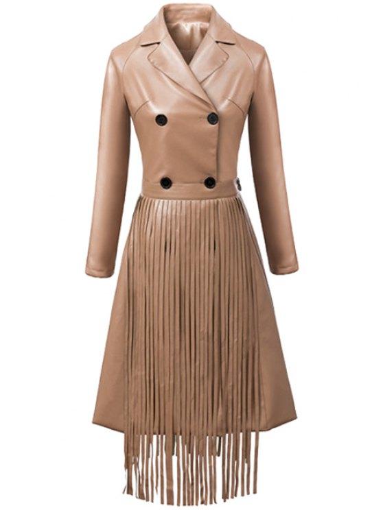 lady Lapel PU Leather Fringe Coat - LIGHT KHAKI S