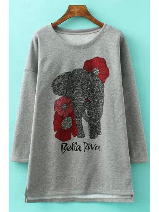 trendy Long Sleeve Elephant Print Dress - DEEP GRAY M