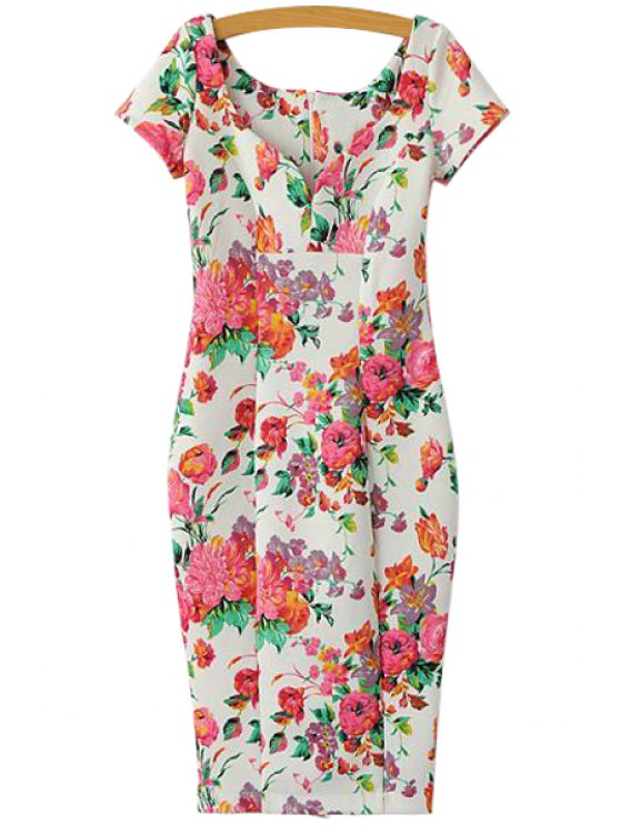 sale Short Sleeve Floral Bodycon Dress - WHITE S
