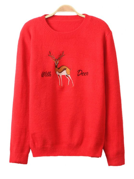 best Long Sleeve Deer Embroidery Sweater - RED ONE SIZE(FIT SIZE XS TO M)