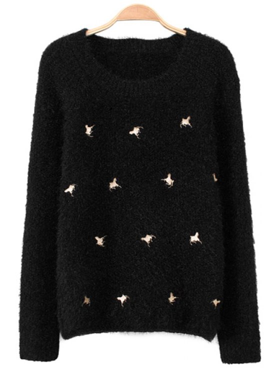 hot Long Sleeve Horse Embroidery Sweater - BLACK S