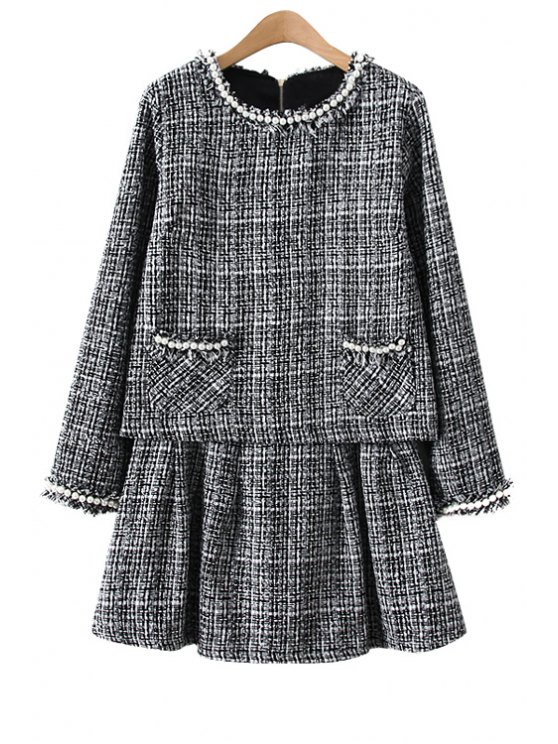 trendy Checked Knitwear and A-Line Skirt Suit - GRAY S