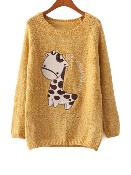 trendy Long Sleeve Giraffe Pattern Sweater - YELLOW ONE SIZE(FIT SIZE XS TO M)