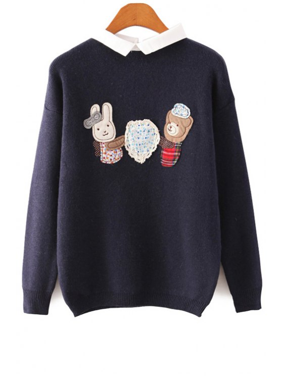 women's Cartoon Patch Design Sweater - PURPLISH BLUE ONE SIZE(FIT SIZE XS TO M)