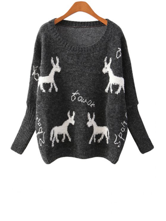 new Long Sleeve Full Deer Pattern Sweater - BLACK ONE SIZE(FIT SIZE XS TO M)