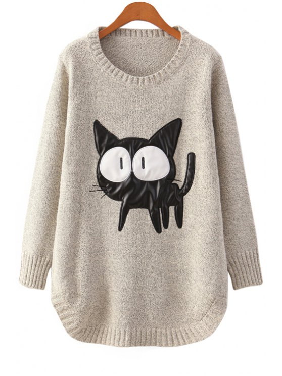 sale Cartoon Cat Pattern Sweater - OFF-WHITE ONE SIZE(FIT SIZE XS TO M)