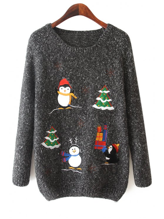 buy Penguin Christmas Tree Pattern Sweater - BLACK ONE SIZE(FIT SIZE XS TO M)