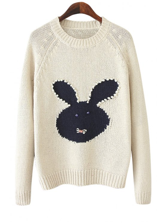 online Long Sleeve Rabbit Pattern Sweater - WHITE ONE SIZE(FIT SIZE XS TO M)