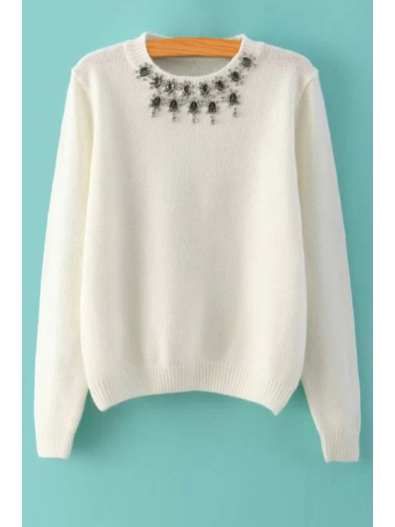 latest Solid Color Rhinestone Sweater - WHITE ONE SIZE(FIT SIZE XS TO M)