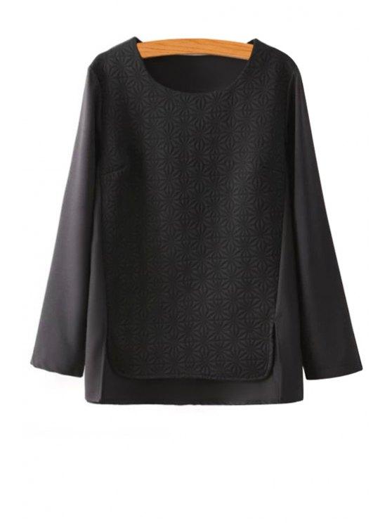 shop Long Sleeve Chiffon Splicing Blouse - BLACK S